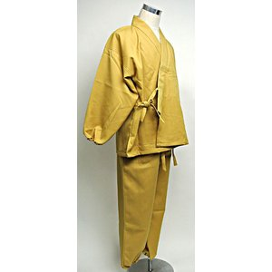 【送料無料】 日本製 オリジナル 作務衣 カラシ色 冬用 (袖口ゴムあり)|nichirin|02