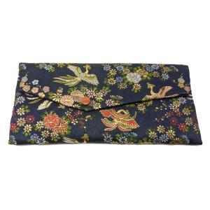 数珠袋 西陣織高級金襴 紺 鳳凰に花紋 メール便対応|nichirin