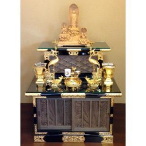 基壇 半間サイズ 神代木使用 黒塗 飾金具付 日本製|nichirin