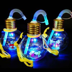 光るおもちゃ スヌーピー ぽっちゃり 電球ボトル 420ml ストロー付 ( 6入 )  タピオカ 子供会 景品 お祭り くじ引き 縁日 光り物玩具 不良返品不可|nichokichi