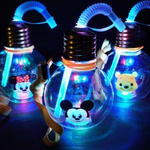 光るおもちゃ ディズニー ぽっちゃり 電球ボトル 420ml ストロー付 ( 6入 )  子供会 景品 お祭り くじ引き 縁日 ハロウィン 光り物玩具 不良返品不可|nichokichi