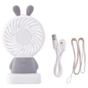 ☆ Thin Fan アニマルミニ扇風機 うさぎ グレー IQ-TF-RA-GY|nico-marche