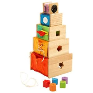 知育玩具 1歳 2歳 3歳 赤ちゃん 木のおもちゃ 子供 誕生日プレゼント トレーニングキューブ|nicoly