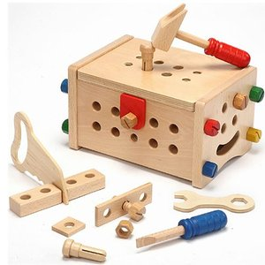 木のおもちゃ 大工 工具 3歳 4歳 5歳 子供 誕生日プレゼント トレジャーボックス nicoly
