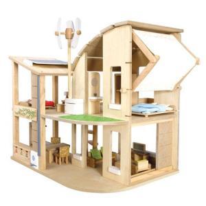 木のおもちゃ 木製 女の子 子供 3歳 4歳 5歳 誕生日プレゼント 家具付きグリーンドールハウス|nicoly
