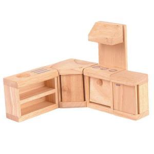 ドールハウスキット 木のおもちゃ 木製 女の子 子供 3歳 4歳 5歳 誕生日プレゼント 家具 クラシック キッチン|nicoly