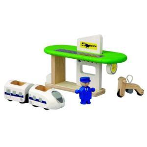 木製レール 電車 木のおもちゃ 3歳 4歳 5歳 誕生日プレゼント エコトレインステーション|nicoly