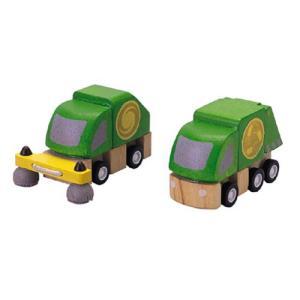 木製レール 電車 木のおもちゃ 3歳 4歳 5歳 誕生日プレゼント 清掃車とごみ収集車 nicoly