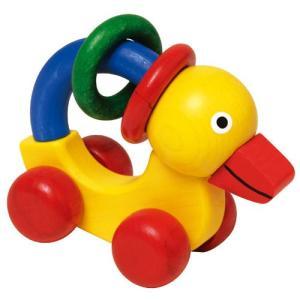がらがら 赤ちゃん 木のおもちゃ 0歳 1歳 誕生日プレゼント ニック ベビーダック|nicoly