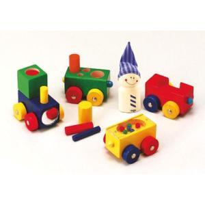 積み木 木のおもちゃ 1歳 2歳 3歳 子供 誕生日プレゼント 赤ちゃん よちよちトレイン|nicoly