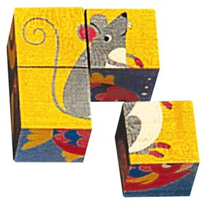 パズル 子供 幼児 知育玩具 木のおもちゃ 1歳 2歳 3歳 誕生日プレゼント 六面体パズル 4pcs アニマルカラー nicoly