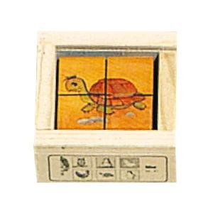 パズル 子供 幼児 知育玩具 木のおもちゃ 1歳 2歳 3歳 誕生日プレゼント 六面体パズル 4pcs ミニアニマルカラー nicoly
