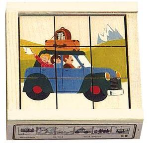 パズル 子供 幼児 知育玩具 木のおもちゃ 2歳 3歳 4歳 誕生日プレゼント 六面体パズル 9pcs のりもの nicoly
