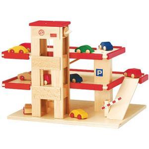 木製レール 電車 木のおもちゃ 3歳 4歳 5歳 誕生日プレゼント ロードセット 立体駐車場(リフト付き)赤|nicoly