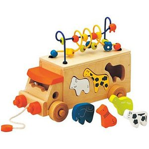 プルトイ 積み木 形合わせ 木のおもちゃ 3歳 4歳 5歳 誕生日プレゼント アニマルビーズバス|nicoly