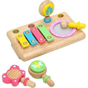 楽器 音楽 木のおもちゃ 1歳 2歳 3歳 子供 誕生日プレゼント ファーストMUSIC SET|nicoly