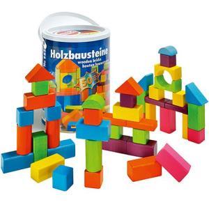 積み木 木のおもちゃ 1歳 2歳 3歳 子供 誕生日プレゼント 赤ちゃん HEROS 筒入り積み木 ハッピーカラーズ|nicoly