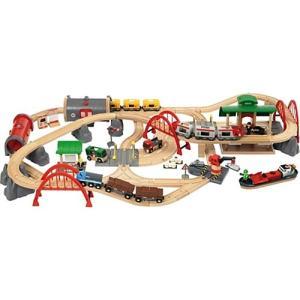 木製レール 3歳 4歳 5歳 子供 誕生日プレゼント レール&ロードデラックスセット 木のおもちゃ|nicoly