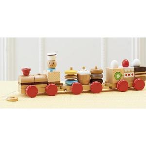 積み木 木のおもちゃ 1歳 2歳 3歳 子供 誕生日プレゼント 赤ちゃん おやつ列車byパティシエ|nicoly