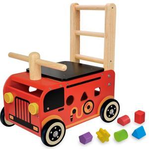 乗用玩具 赤ちゃん 木のおもちゃ 1歳 2歳 3歳 子供 誕生日プレゼント ウォーカー&ライド 消防車|nicoly