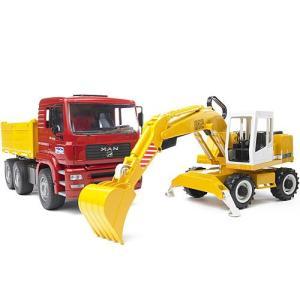 車のおもちゃ 3歳 4歳 5歳 子供 誕生日プレゼント MAN トラック&LHショベル|nicoly