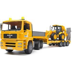 車のおもちゃ 3歳 4歳 5歳 子供 誕生日プレゼント MAN トラック&JCBバックホーローダー|nicoly