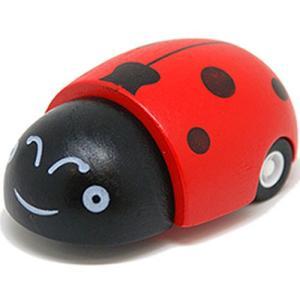 車 木のおもちゃ 3歳 4歳 5歳 子供 誕生日プレゼント クリック・クラック プルバック・カー てんとう虫|nicoly