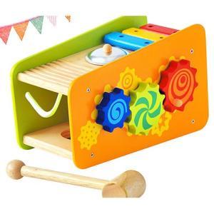 ハンマートイ ビジーベンチ&タワー 木のおもちゃ 木製 子供 1歳 2歳 3歳 誕生日プレゼント 男の子 女の子 赤ちゃん ベビー|nicoly