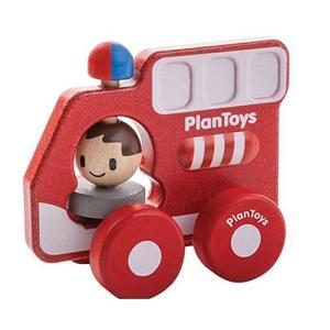 車のおもちゃ 木のおもちゃ 誕生日プレゼント ファイヤートラック 木製 子供 男の子 1歳 2歳 3歳|nicoly