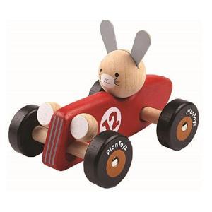 車のおもちゃ 木のおもちゃ 誕生日プレゼント ラビットレーシングカー 木製 子供 男の子 1歳 2歳 3歳|nicoly