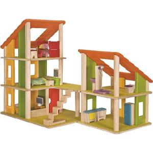 木のおもちゃ 家具付きシャレードールハウス2|nicoly