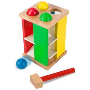 木のおもちゃ 赤ちゃん たたいてころりんタワー|nicoly