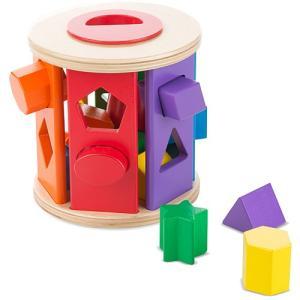 積み木 ブロック 型はめ 木のおもちゃ マッチ&ロール シェイプソーター|nicoly