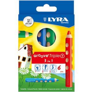 お絵かき 塗り絵 色鉛筆 グルーヴトリプルワン 6色セット