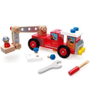 コンストラクション ファイヤートラック 1歳 2歳 3歳 ベビー 木製 男の子 工具|nicoly