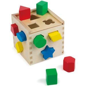 積み木 木製 2歳 3歳 シェイプソーティング キューブ|nicoly