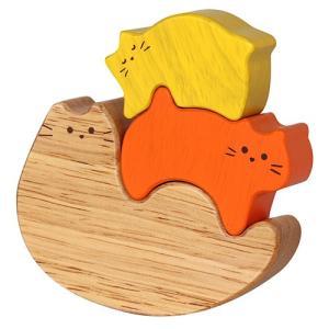 積み木 ブロック 木のおもちゃ Family Cat|nicoly