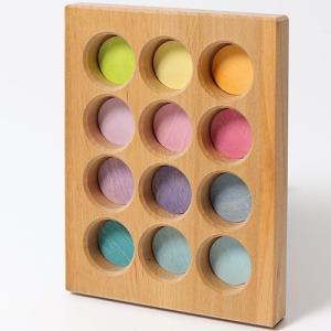 グリムス ソーティングボード・パステル 積み木 ブロック 木のおもちゃ|nicoly