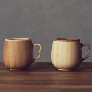 RIVERET カフェオレマグ ペア マグカップ 木製 グラス コップ 竹製