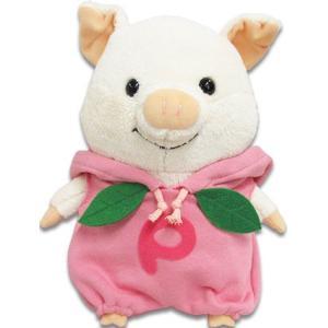 「ぷーとん」がももパーカーを着て登場です。   パーカーをかぶるとぷーとんが大好きな桃に大変身 胸元...