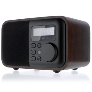 ワイドFM対応 インテリアラジオ ウォールナットウッド調/リモコン付/クロック/ワイヤレススピーカー...