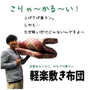 超軽量 腰痛対策 軽楽敷き布団 羊毛混 硬質ウレタン レッド 送料無料|niconicogenkimura|02