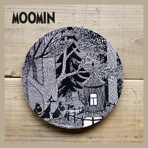 Moomin/ムーミン メラミンデザートプレート 木のコテージ モノクロ|niconomanimani