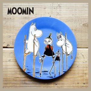 Moomin/ムーミン メラミンデザートプレート 水の上の竹馬 ダークブルー