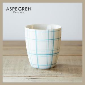 ASPEGREN アスぺグレン 北欧デザイン マグカップ(チェックブルー)|niconomanimani