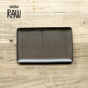 RAW/ロウ レクタングルプレートL 32cm メタリックブラウン ストーンウェア 北欧 ワンプレート 洋食器 和食器 大皿 角皿 カフェ おしゃれ|niconomanimani