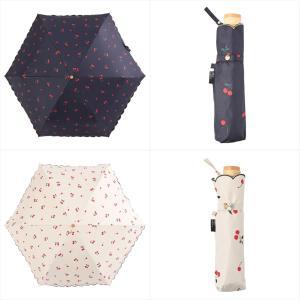 日傘 レディース 晴雨兼用 折りたたみ傘 遮光 遮熱 チェリー さくらんぼ ニフティカラーズ niftycolors