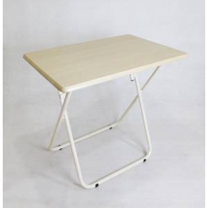ハイテーブル 折りたたみ サイドテーブル 簡易テーブル 太脚パイプ 大きめ ナチュラル ホワイト 75×51×71 丈夫 コンパクト  at-051の写真