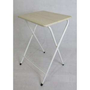 ハイテーブル 折りたたみ サイドテーブル簡易テーブル 脚パイプ ナチュラル 48×40×70 ミニ コンパクト at-5040naの写真