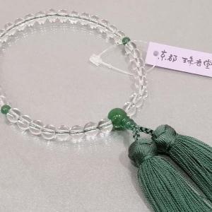 念珠 女性用 数珠 水晶 翡翠入り 正絹古都房付き|nihondou-webshop